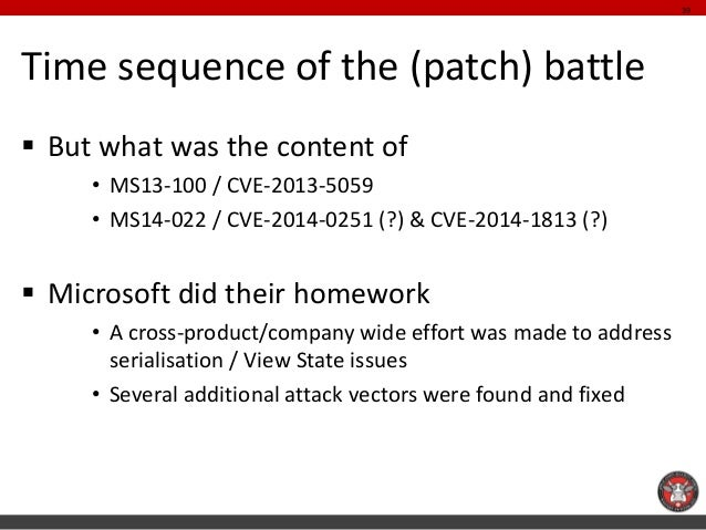 Time sequence of the (patch) battle  But what was the content of  •MS13-100 / CVE-2013-5059  •MS14-022 / CVE-2014-0251 (?...