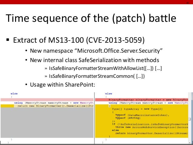 """Time sequence of the (patch) battle  Extract of MS13-100 (CVE-2013-5059)  •New namespace """"Microsoft.Office.Server.Securit..."""