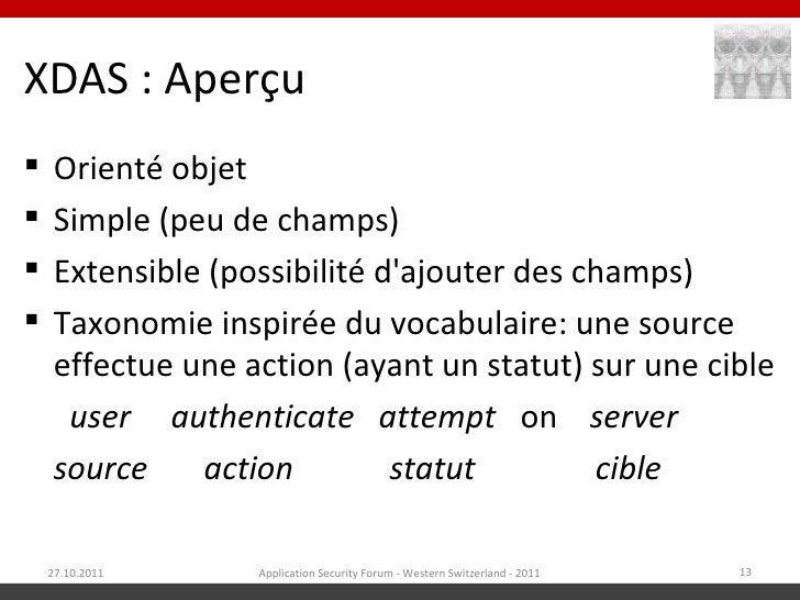 XDAS : Aperçu    Orienté objet    Simple (peu de champs)    Extensible (possibilité dajouter des champs)    Taxonomie ...