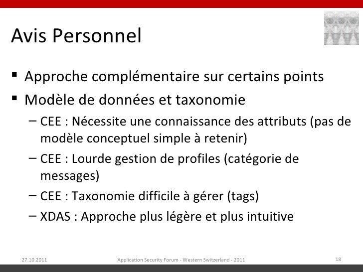 Avis Personnel Approche complémentaire sur certains points Modèle de données et taxonomie   – CEE : Nécessite une connai...