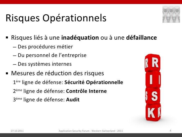 Risques Opérationnels Risques liés à une inadéquation ou à une défaillance  – Des procédures métier  – Du personnel de l'...