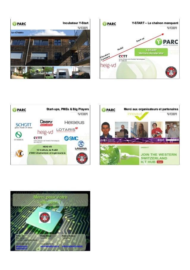 Incubateur Y-Start  Y-START – Le chaînon manquant  Le «Chalet»  Sta Ra tion uca y Ed pan m Co  &D  p rt-u  Y-START Venture...