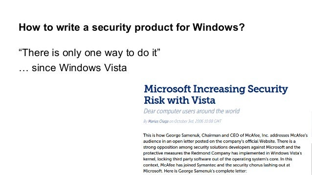 """How to write a security product for Windows?  """"There is only one way to do it""""  … since Windows Vista"""