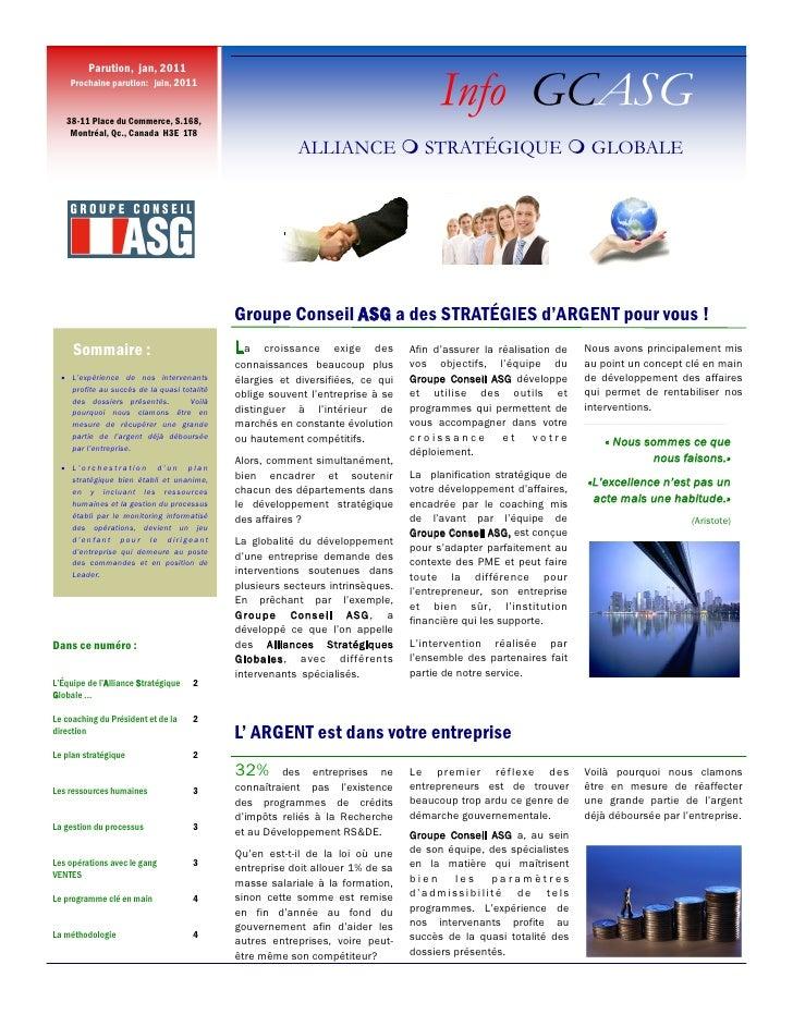 Parution, jan, 2011     Prochaine parution: juin, 2011      38-11 Place du Commerce, S.168,                               ...