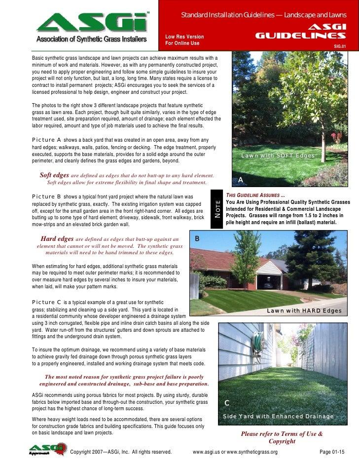 www.asgi.us                                                        Standard Installation Guideline — Landscape & Lawns    ...