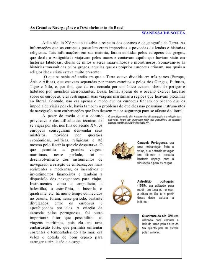 As Grandes Navegações e o Descobrimento do Brasil                                                                         ...