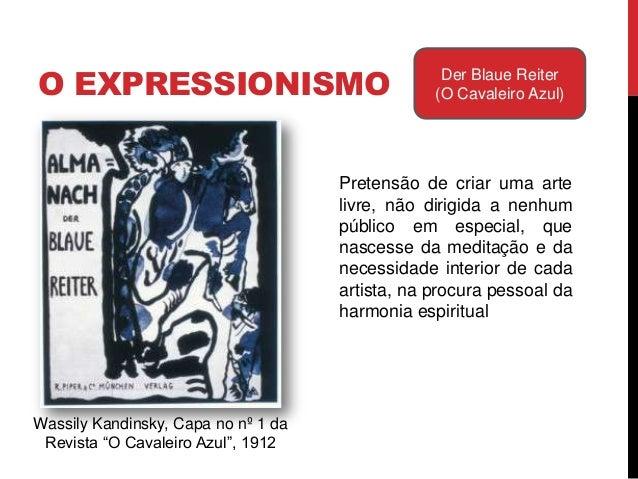 Kandinsky comparou alinguagem plástica à musical,definindo a obra como umanecessidade interior, à qual secede através da i...