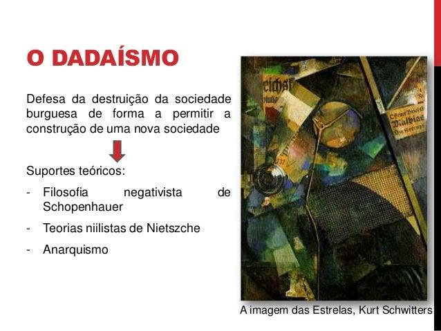 O DADAÍSMOFocos iniciais do Dadaísmo:- Zurique: em 1915-16, noCabaret Voltaire nasceu aideia do movimento- Tristan Tzara- ...