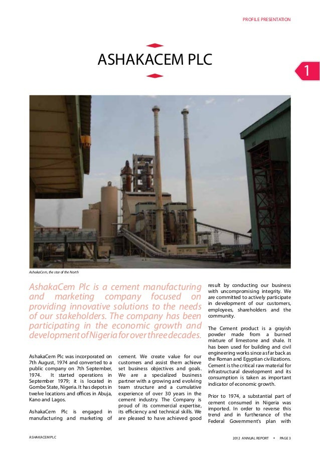 Cement Company Of Northern Nigeria : Ashaka cement annual report