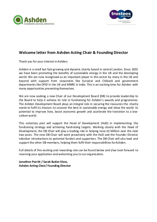 Ashden development board chair 3 welcome letter from ashden acting chair founding director thank you expocarfo