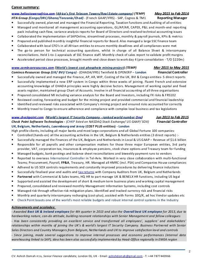 ash domah detailed cv award winning financial controller