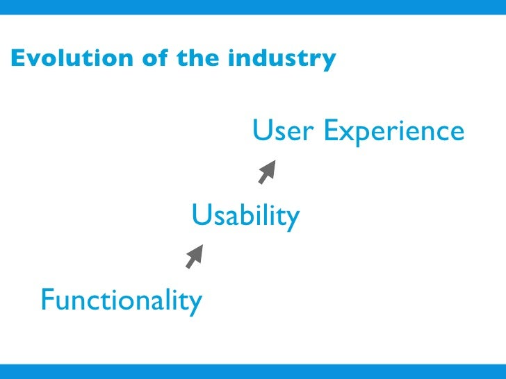 Evolution of the industry                     User Experience                Usability    Functionality