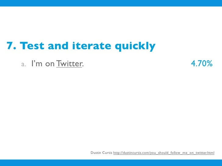 7. Test and iterate quickly   a. I'm on Twitter.                                                              4.70%    b. ...