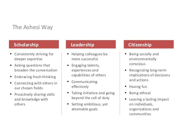 The Ashesi Way • Consistently striving for deeper expertise • Asking questions that broaden the conversation • Embracing f...