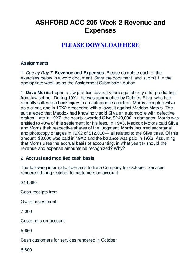 ASHFORD ACC 205 Week 2 Revenue and                   Expenses                     PLEASE DOWNLOAD HEREAssignments1. Due by...