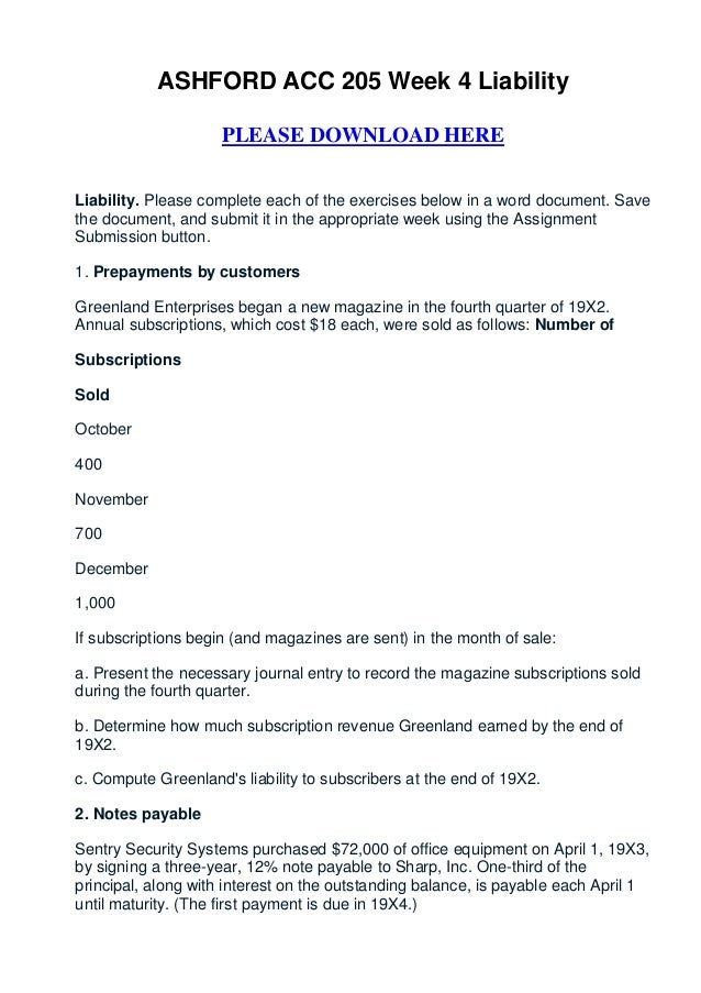 ASHFORD ACC 205 Week 4 Liability                     PLEASE DOWNLOAD HERELiability. Please complete each of the exercises ...