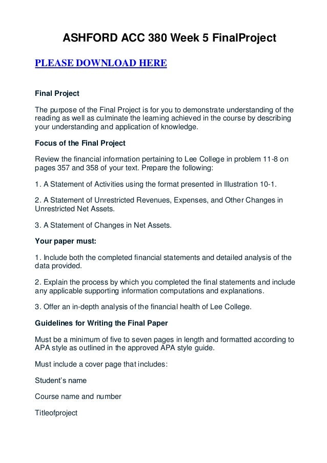 ASHFORD ACC 380 Week 5 FinalProjectPLEASE DOWNLOAD HEREFinal ProjectThe purpose of the Final Project is for you to demonst...