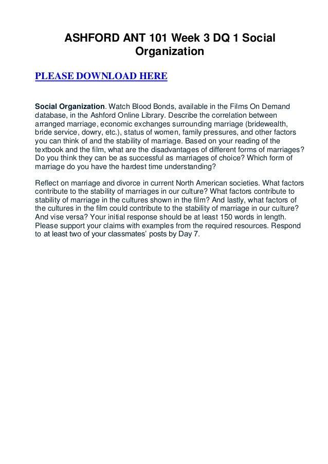 ASHFORD ANT 101 Week 3 DQ 1 Social                   OrganizationPLEASE DOWNLOAD HERESocial Organization. Watch Blood Bond...