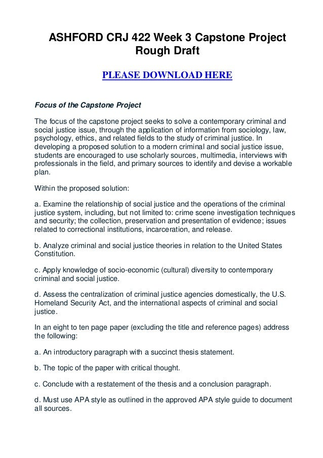 ASHFORD CRJ 422 Week 3 Capstone Project                 Rough Draft                      PLEASE DOWNLOAD HEREFocus of the ...