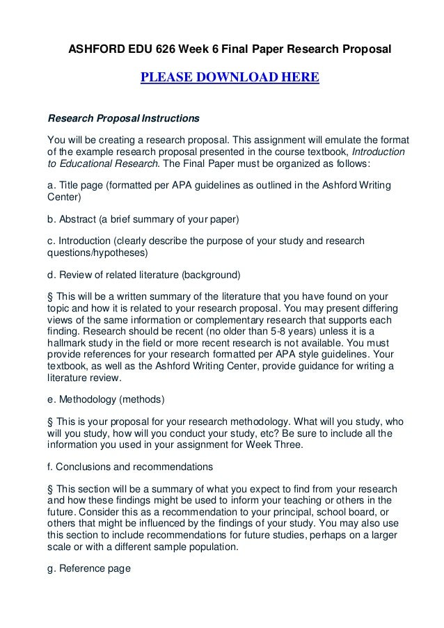 Proposal for Research Paper