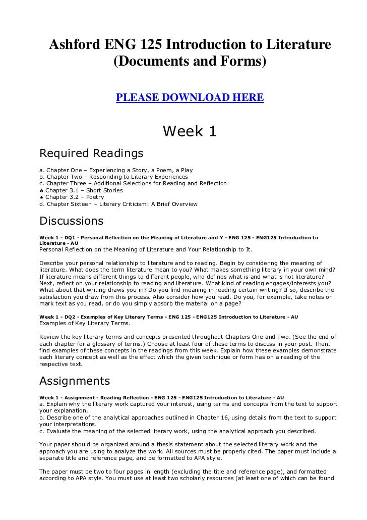 Ashford ENG 125 Introduction to Literature            (Documents and Forms)                            PLEASE DOWNLOAD HER...