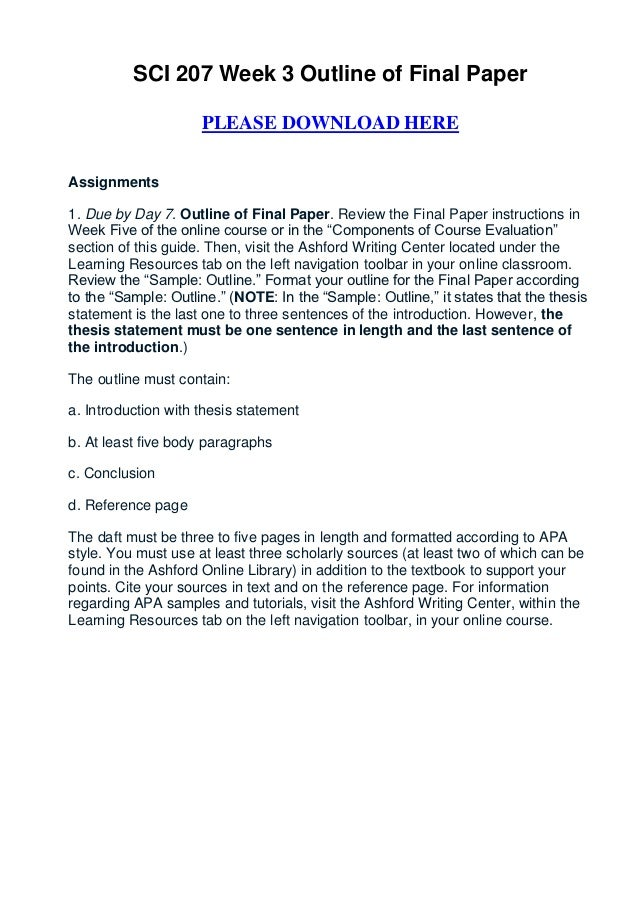final paper outline com 200 week 3 Review the final paper instructions in week five then, visit the ashford writing center, within the learning resources tab on the left navigation toolbar, and review.