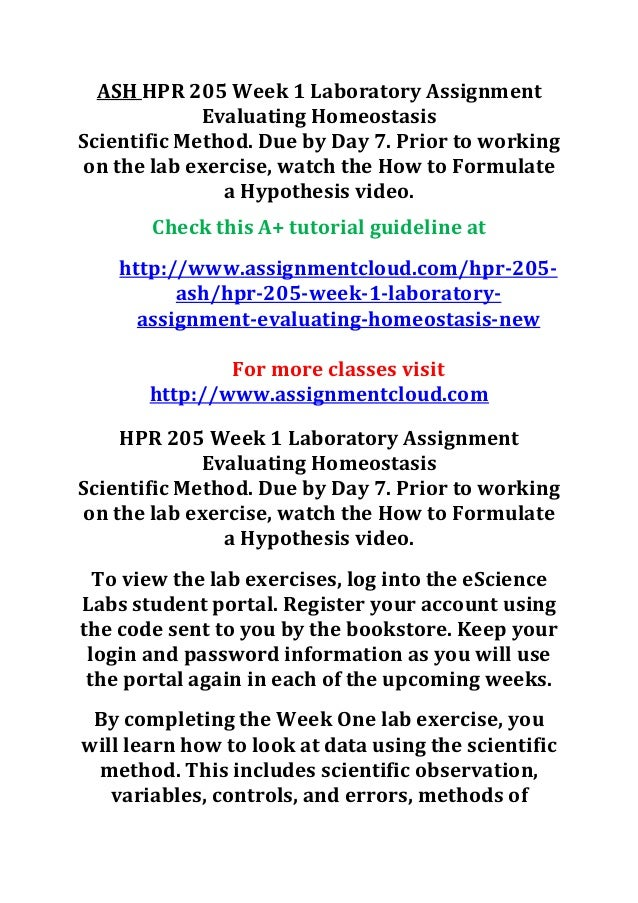 Ash Hpr 205 Week 1 Laboratory Assignment Evaluating Homeostasis