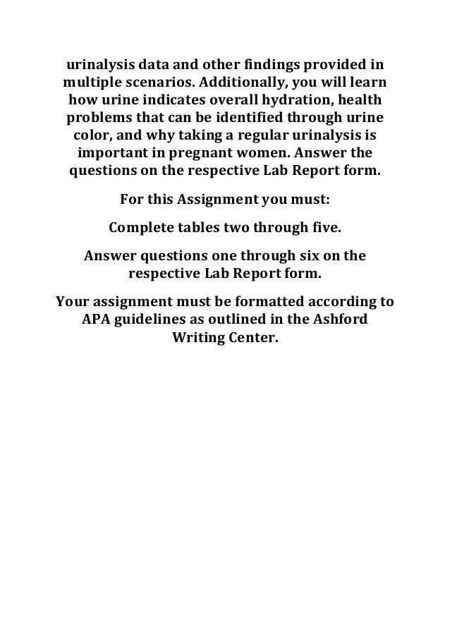 Ash hpr 205 week 5 laboratory assignment urinalysis