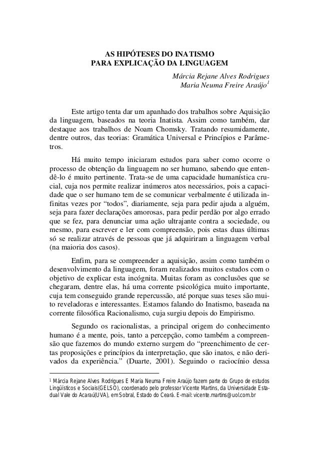 AS HIPÓTESES DO INATISMO PARA EXPLICAÇÃO DA LINGUAGEM Márcia Rejane Alves Rodrigues Maria Neuma Freire Araújo1 Este artigo...