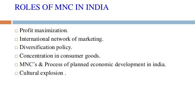 role of mnc in india