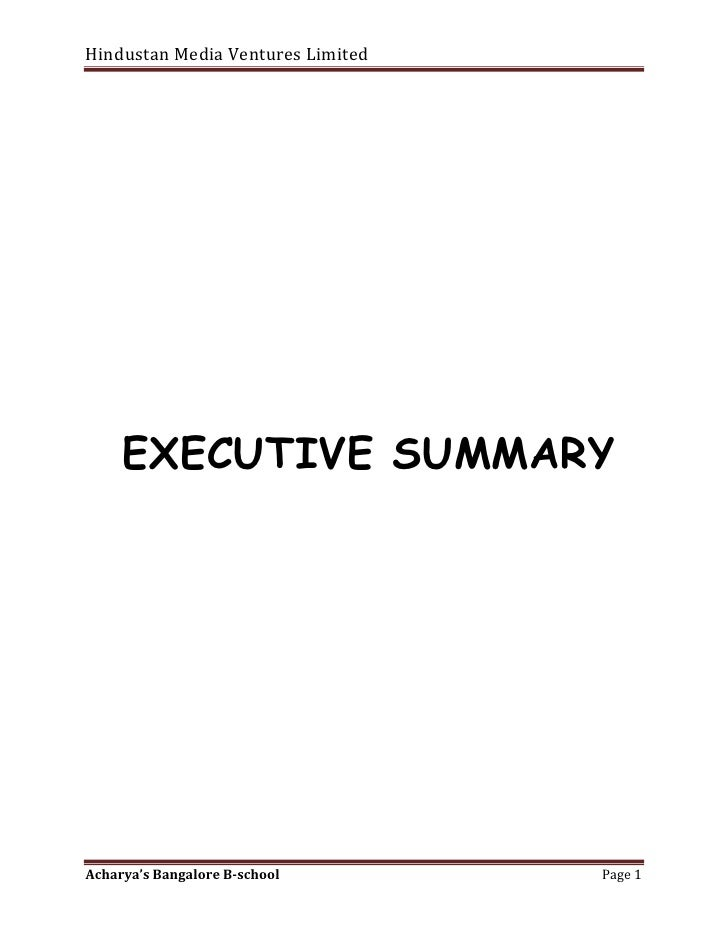 <br />  EXECUTIVE SUMMARY<br />                                           <br />EXECUTIVE SUMMARY<br />The purpos...