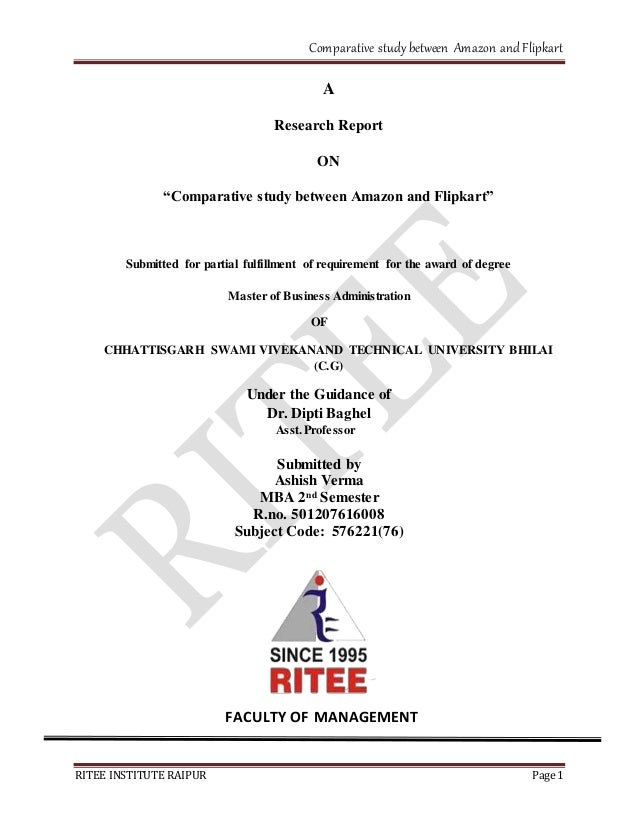 896745013 amazon   flipkart comparative study between amazon and flipkart Research  Report