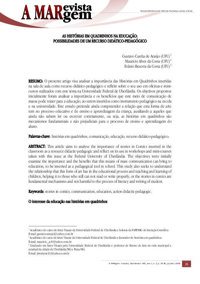 A MARgem - Estudos, Uberlândia - MG, ano 1, n. 2, p. 26-36, jul./dez. 2008 26 Revista Eletrônica de Ciências Humanas, Letr...