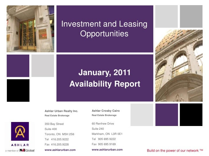 Investment and Leasing                  Opportunities                      January, 2011                    Availability R...