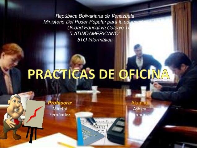 """República Bolivariana de VenezuelaMinisterio Del Poder Popular para la educaciónUnidad Educativa Colegio Técnico""""LATINOAME..."""