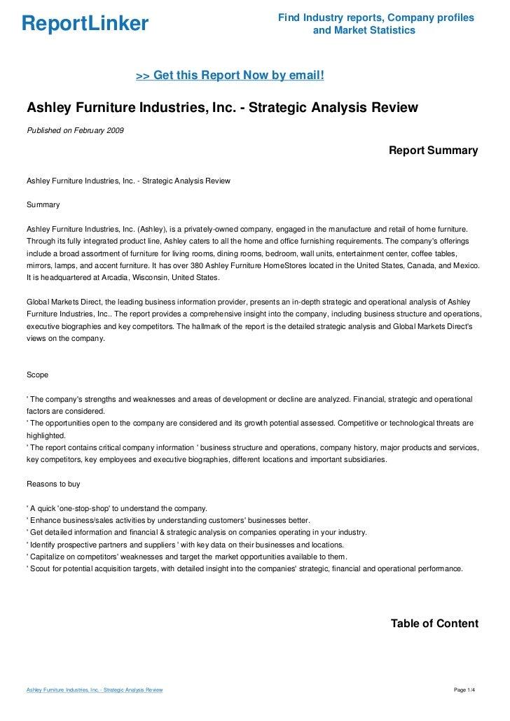 ashley furniture swot analysis