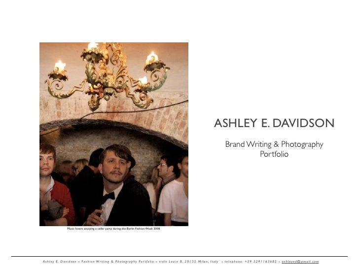 ASHLEY E. DAVIDSON                                                                                                        ...