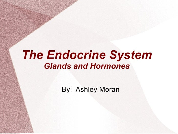 The Endocrine System   Glands and Hormones      By: Ashley Moran