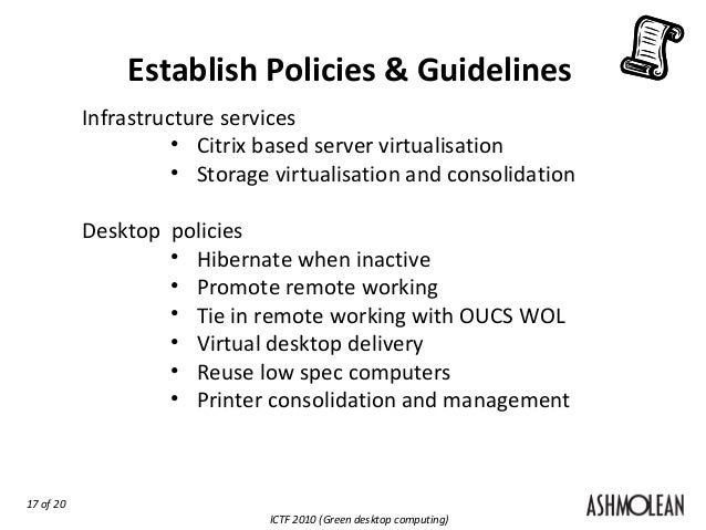 desktop and server policies and guidelines