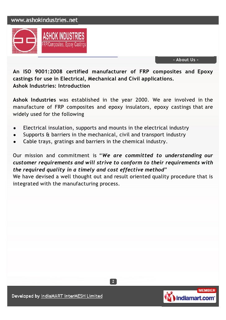 Ashok Industries, Bangalore, Epoxy Insulators Slide 2