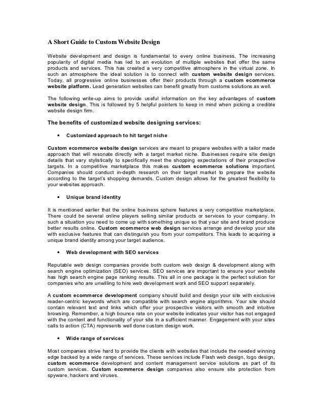 a short guide to custom website design rh slideshare net Writing a Customer Service Manual Writing a Customer Service Manual
