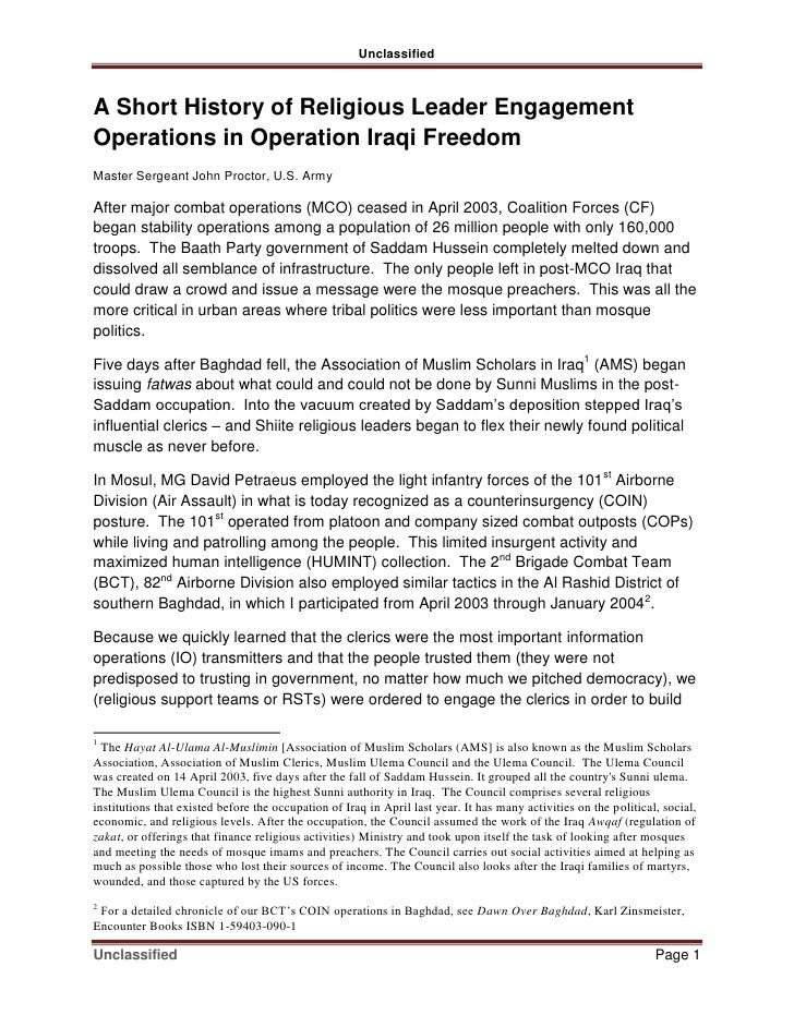 Unclassified    A Short History of Religious Leader Engagement Operations in Operation Iraqi Freedom Master Sergeant John ...