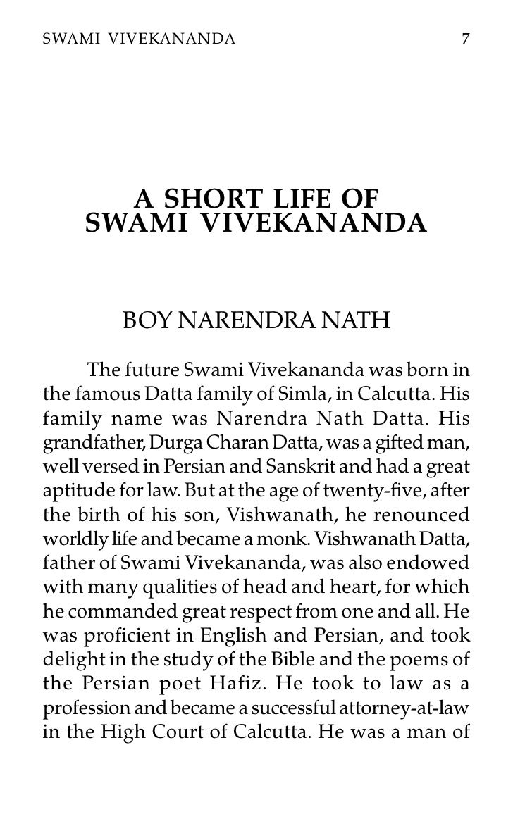 a short life of swami vivekananda swami vivekananda