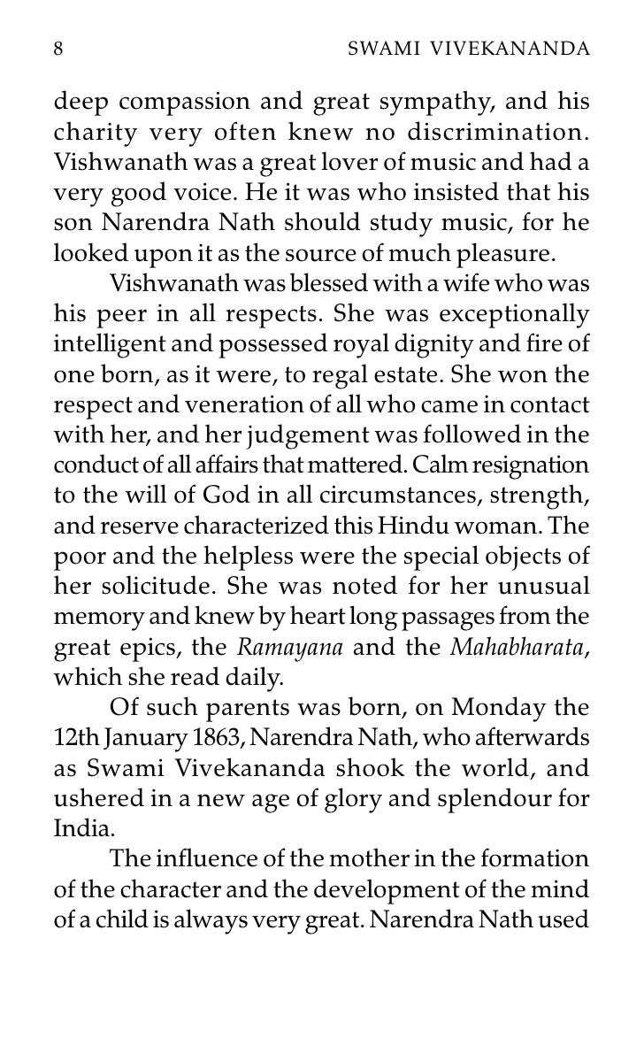 essay on childhood of swami vivekananda