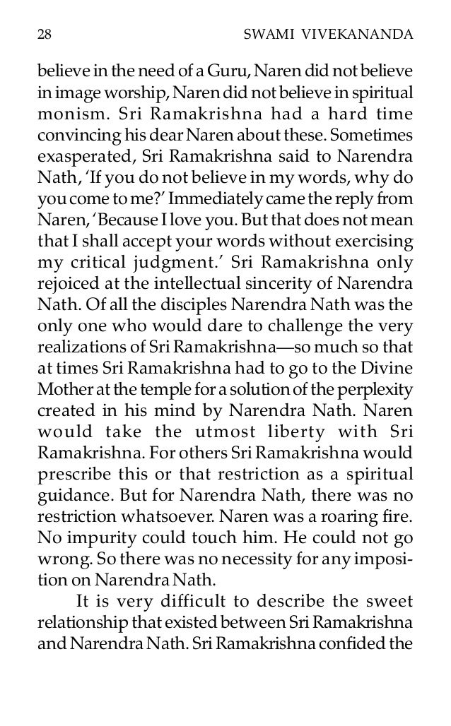 a short life of swami vivekananda naren did not 28 28 swami vivekananda believeintheneedofaguru