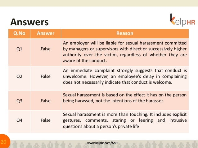 Sexual harassment questions to test knowledge
