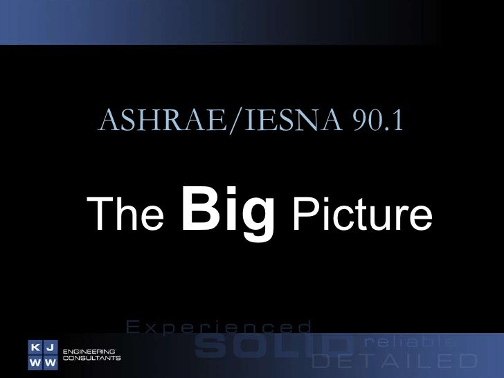 ASHRAE/IESNA 90.1 The  Big  Picture