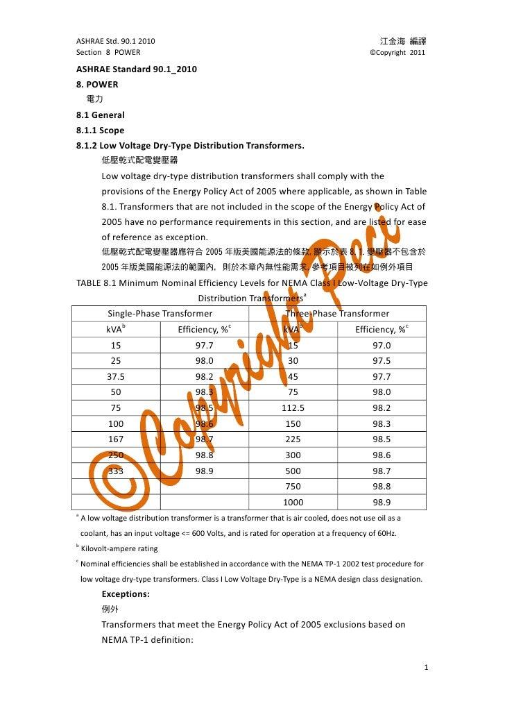 Ashrae standard 90 1 2010 section 8 power for Ashrae 62 1 table 6 1