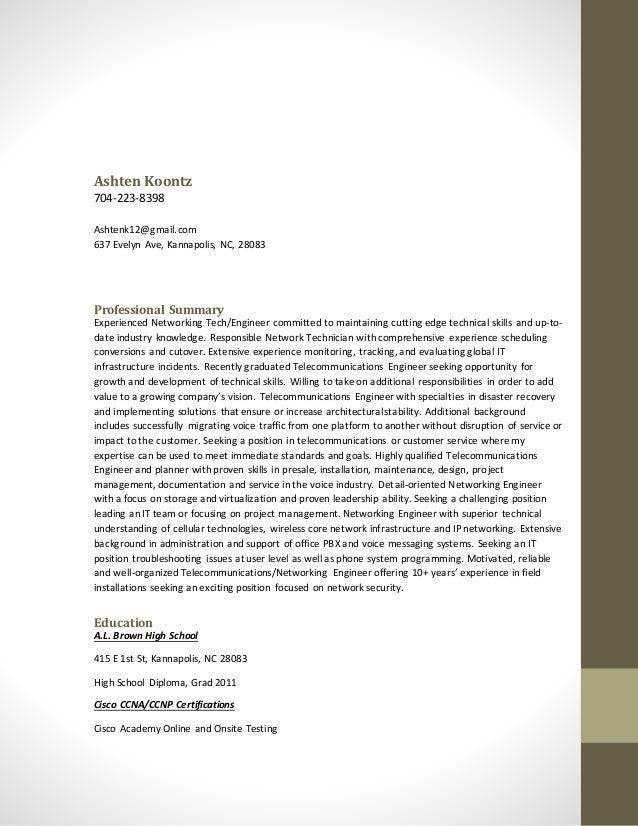Ashten Koontz 704-223-8398 Ashtenk12@gmail.com 637 Evelyn Ave, Kannapolis, NC, 28083 Professional Summary Experienced Netw...