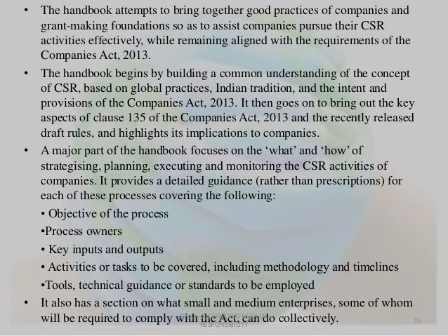 • The handbook attempts to bring together good practices of companies and  grant-making foundations so as to assist compan...